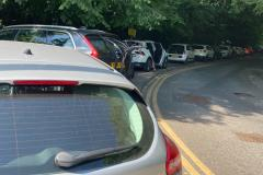 Tickets issued to cars blocking the pavement