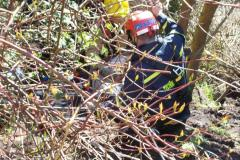 Lady rescued after falling down embankment in Handforth