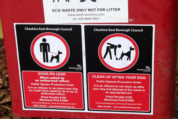 dog litter bin with signage