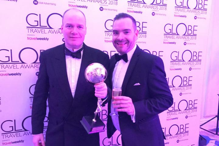 Patrick Alexander and Seb Thompson collect Best UK Airport award