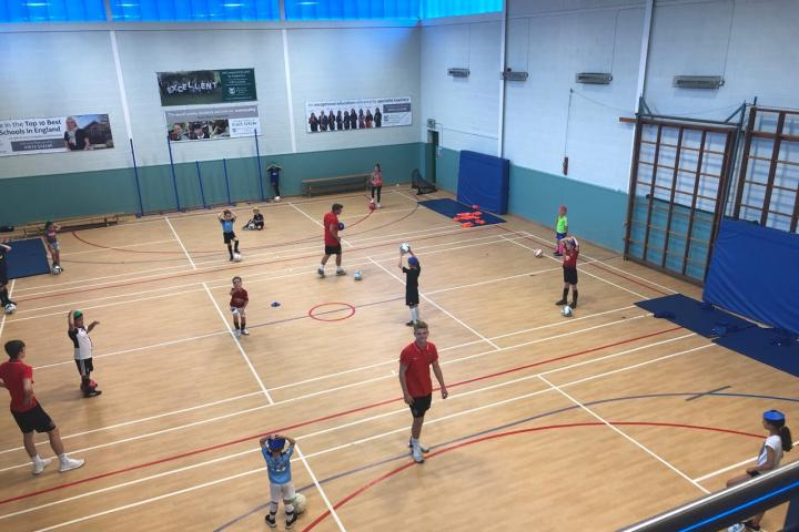 camp in the sports hall