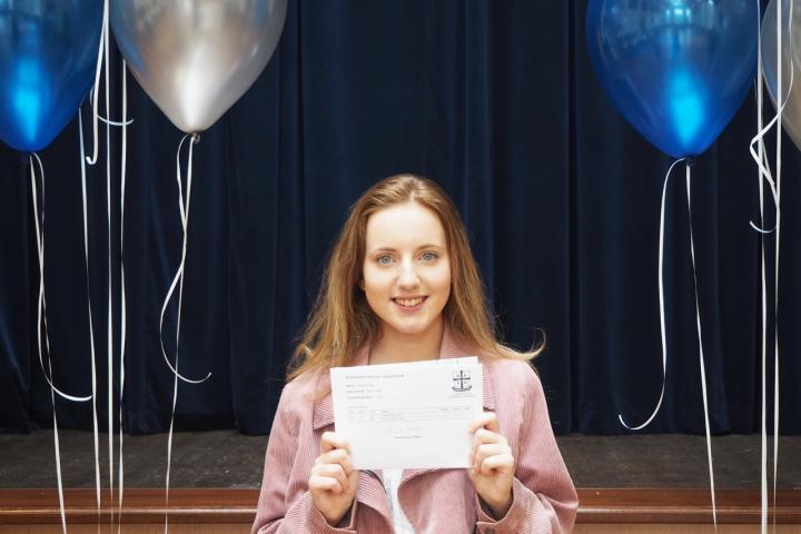 Millie Rose celebrates excellent results! Next stop, Leeds University!
