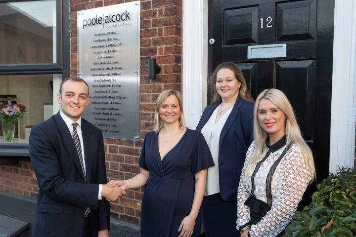 New office for Poole Alcock (f l to r) James Nicholson from Orbit, Jane Jacques, Sarah-Jane Dunhill and Victoria Moetamedi from Poole Alcock