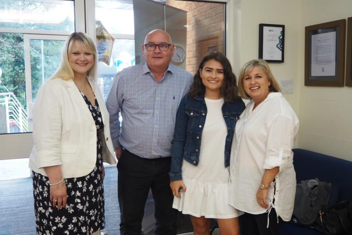 Ellie Bancroft, Head Girl, with Headmistress, Mrs Jeys and Parents