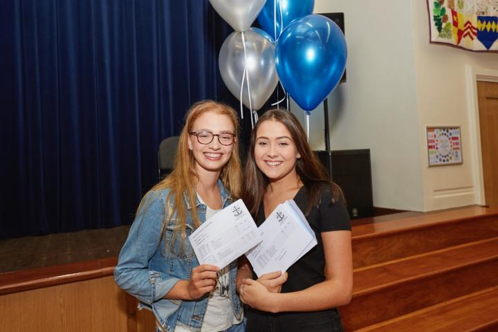 Nina Fraser and Katie Farley celebrating outstanding results