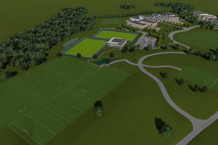 Aerial view of new sports pitches