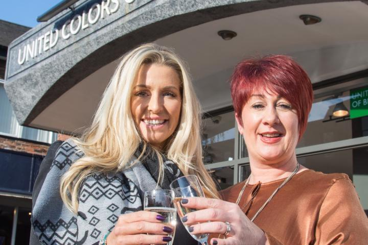 L-R Real Housewives of Cheshire star Leanne Brown Celebrates the Opening of Benetton Wilmslow with Director Clare Vaughan