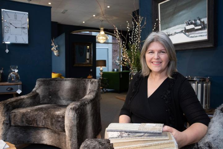 Maria Dolan in her new HouzLux furniture showroom in Wilmslow